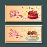 Birthday horizontal banner with various tart. Birthdayparty horizontal banner with various tart Royalty Free Stock Photography