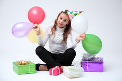 Birthdays on a beautiful girl. Stock Image