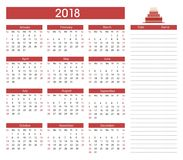 Birthdays 2018 calendar template background. Birthdays 2018 calendar, organizer and schedule template background with cake, red, white and black color design Stock Photos