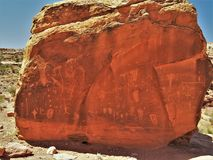 Birthing Rock Petroglyphs. The Birthing Scene top left is one of the more popular and unique rock art panels in the Moab area royalty free stock photo