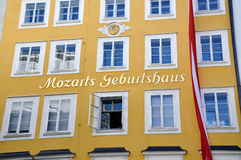 Birthplace of Mozart in Salzburg, Austria. Birthplace of the famous composer Wolfgang Amadeus Mozart in Salzburg, Austria Royalty Free Stock Photography