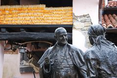 Birthplace of Pope John XXIII. Farm where Pope John XXIII was born with his statue - Sotto il Monte Giovanni XXII, Bergamo, Lombardy, Italy Stock Photos