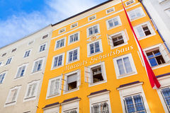 Birthplace of Wolfgang Amadeus Mozart in Salzburg, Austria. SALZBURG, AUSTRIA - AUGUST 28: Birthplace of Wolfgang Amadeus Mozart on August 28, 2012 in Salzburg Stock Photo