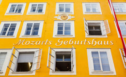 Birthplace of Wolfgang Amadeus Mozart in Salzburg, Austria. Birthplace of famous Austrian composer Wolfgang Amadeus Mozart in Salzburg, Austria Royalty Free Stock Photography