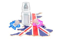 Birthrate and adoption in Great Britain concept, 3D rendering. Isolated on white background Royalty Free Stock Image