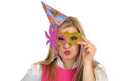 birthsday fira nätt kvinnligdeltagare Royaltyfri Foto