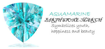 Birthstone. Aquamarine symbolizing the birthstone of March Stock Image