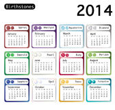 Birthstone calendar 2014 Stock Photos