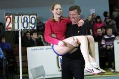 Biruk Tamara avec l'entraîneur Photos stock