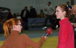 Biruk Tamara talks with the media Royalty Free Stock Image