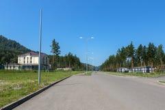 Biruzovaya Katun is een bijzondere economische zone van een toerist-recreatief type op het Altai-Grondgebied royalty-vrije stock afbeelding