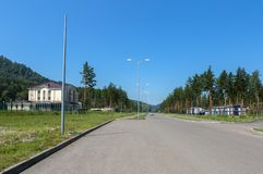 Biruzovaya Katun is a special economic zone of a tourist-recreational type in the Altai Territory. Biruzovaya Katun, Russia - July 25, 2015: Biruzovaya Katun is Royalty Free Stock Image