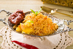 Biryani鸡米用传统印度食物 免版税库存图片