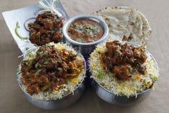 Biryani πρόβειων κρεάτων, κάρρυ πρόβειων κρεάτων, Kababs, Tandoor Roti Στοκ εικόνα με δικαίωμα ελεύθερης χρήσης