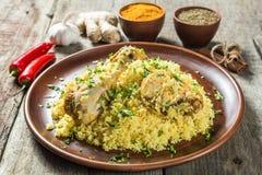 Biryani 印地安烹调全国盘  库存照片