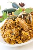 Biryani. Chicken Biryani with green chili royalty free stock image