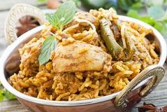 Biryani. Chicken Biryani with chili and ginger stock photos
