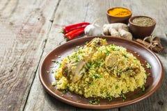 Biryani El plato nacional de la cocina india La visión desde la tapa Copia-espacio Foto de archivo libre de regalías