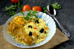 Biryani or pilaf rice. Biryani or pilaf with tomato and raisin with vegetables royalty free stock images