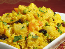 Biryani Rice. A colorful Indian rice dish made from basmati rices, spices, and fresh vegetables stock photography