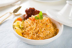 Biryani rice or briyani rice, curry chicken and salad, tradition Royalty Free Stock Photography