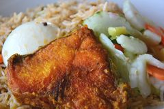 Biryani Rice with fried fish, egg and salad. Stock Image