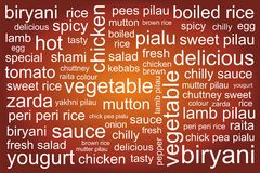 BIRYANI WORDS PATTERN. A beautiful combination of word`s background Royalty Free Stock Photos