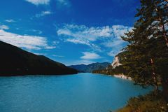 Biryuzovaya katun, Blue and turquoise river in russia royalty free stock image