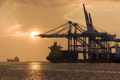 Birzebbuga,马耳他2015年12月15日:马耳他自由港清早视图 免版税库存照片