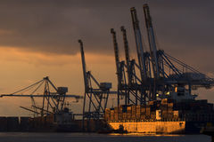 Birzebbuga, Malta 15 December 2015: Malta Freeport Early Morning view. Royalty Free Stock Image