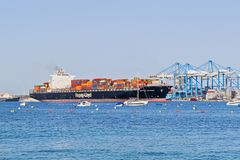 View of arrival of the container ship at Malta Freeport terminal. Birzebbuga, Malta - June 29, 2018: View of arrival of the container ship at Malta Freeport royalty free stock photo