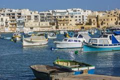 Birzebbuga,Malta. A Mediterranean harbour with fishing boats Stock Images