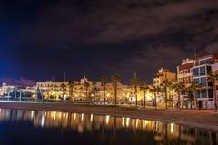 Birzebbugia Una vista de la bahía bonita en la noche Foto de archivo libre de regalías