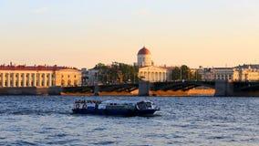 Birzhevoj Exchange bridge.Literary Museum of the Institute of Russian Literature. Russia, Saint-Petersburg, 2 JULY 2016: pleasure transport on Neva, Vasilievskiy stock footage