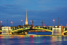 Birzhevoy Brücke St Petersburg, Russland Stockbild