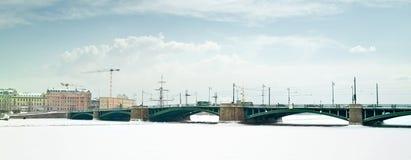 Birzhevoy Bridge Royalty Free Stock Photography