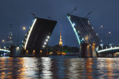 Birzhevoy Bridge  in St. Petersburg at night Stock Images