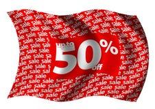 Bis 50% weg von der Markierungsfahne Stockfotografie