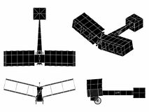 14-bis colored. Black fill. First plane to fly without propellant. Conceived by inventor Santos Dumont vector illustration