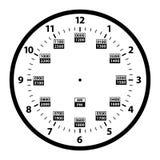 12 bis 24 Stunden-Militärstempeluhr-Umwandlungs-Schablone lokalisierte Vektor-Illustration vektor abbildung