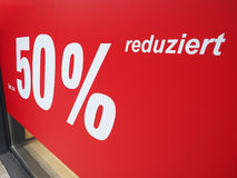 Bis zu 50% reduziert (up to 50% discount) Royalty Free Stock Photography