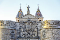 Bisagra gate with the coat of arms in the imperial city of Toledo Stock Images