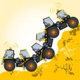 Bisarrt maskinrobotbyggande från jordarbeten Arkivbild
