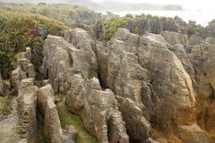 Bisarrt vagga bildat av erosion Punakaiki, den nyazeeländska södra ön arkivfoton
