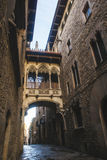 Bisbe Street in the Gothic Quarter of Barcelona Royalty Free Stock Image