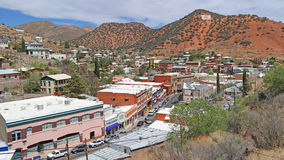 Bisbee Arizona i stadens centrum panorama Arkivbilder