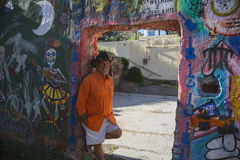Bisbee, Arizona, USA, April 6, 2015, Chuck Tampio in Orange Shirt Royalty Free Stock Photography