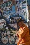 Bisbee, Arizona, USA, April 6, 2015, Chuck Tampio in Orange Shirt Royalty Free Stock Image