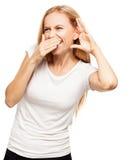 Bisbilhotar de riso da mulher Foto de Stock Royalty Free