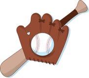 Béisbol, mitón y palo Fotografía de archivo libre de regalías